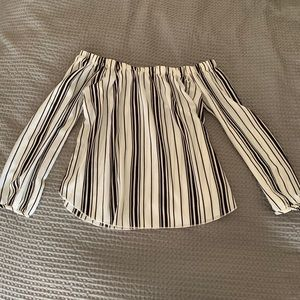 Charlotte Russe Off The Shoulder Striped Top